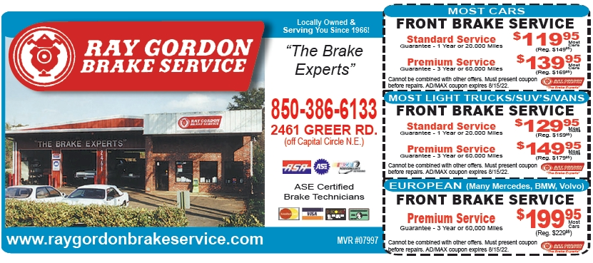 Ray Gordon Brake Service Coupons